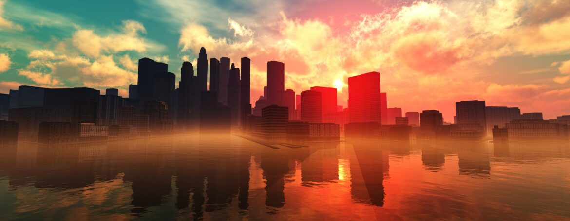 City over water panoramic view, sunset over the city, sea sunset in a modern city, 3D rendering